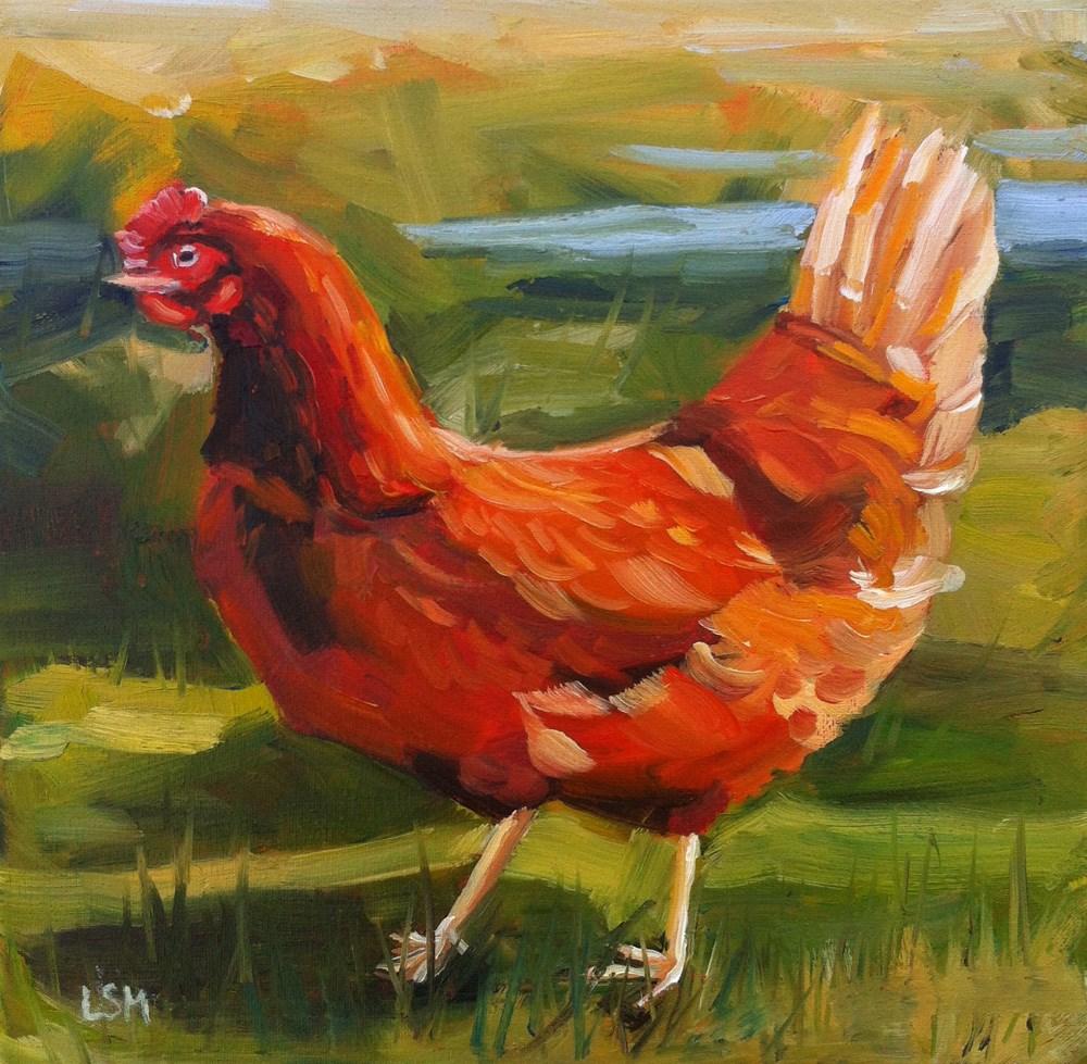 """Brave Chicken"" original fine art by Linda Marino"