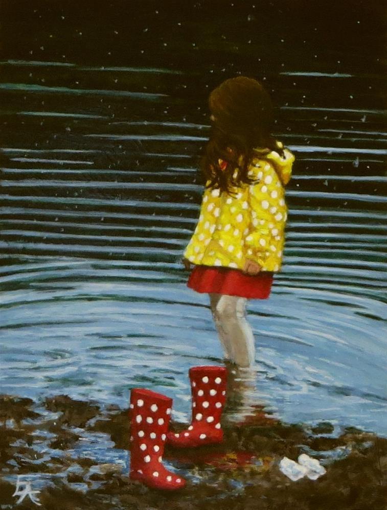 """Polka Dots and Rain"" original fine art by Elizabeth Elgin"