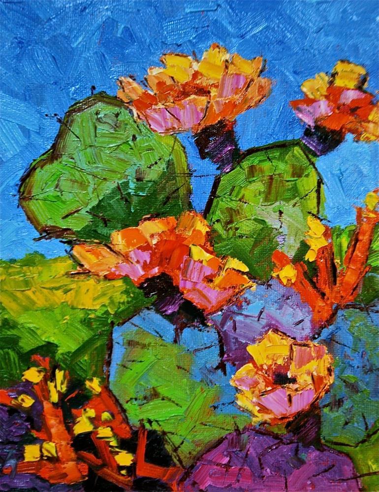 """""""Abstract Cactus Blossoms"""" original fine art by Liz Zornes"""