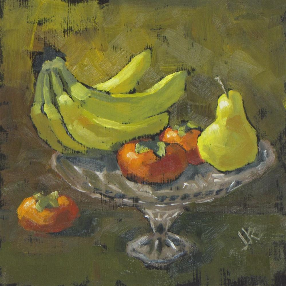 """Fruit and Cake Stand"" original fine art by Louise Kubista"