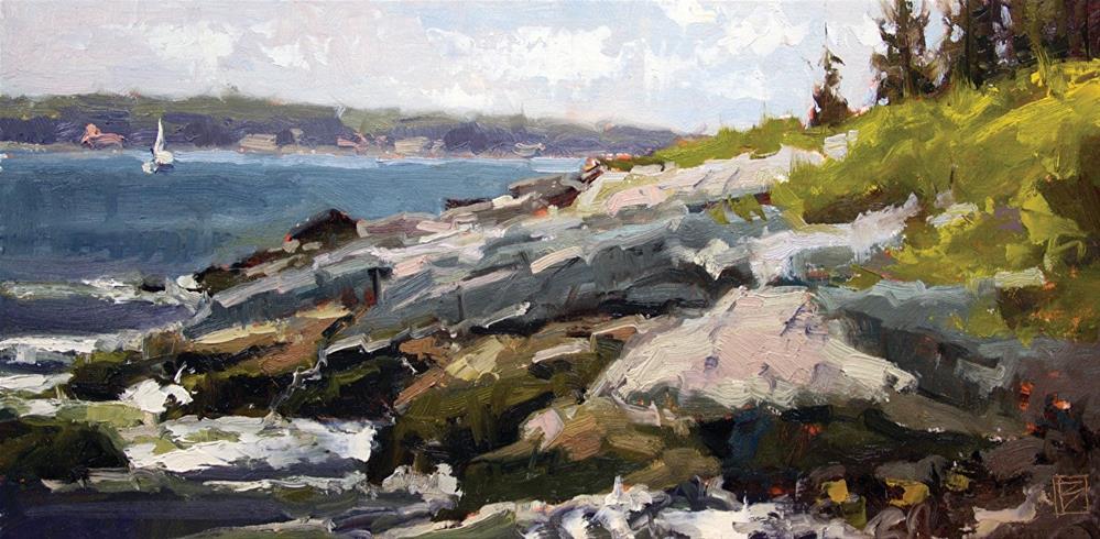 """Rocks at Pemaquid"" original fine art by David Boyd Jr"
