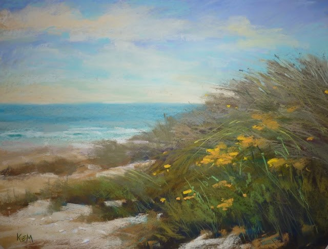 """Beach Dunes with Wildflowers"" original fine art by Karen Margulis"