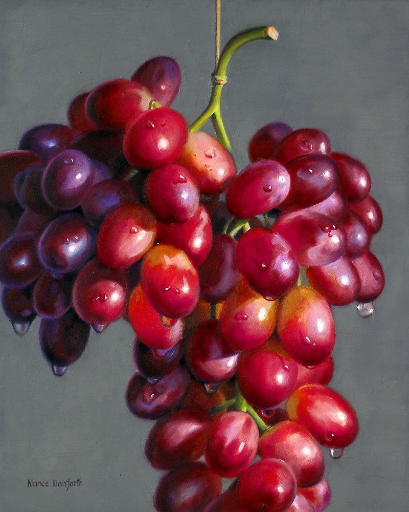 """Hanging Red Grapes"" original fine art by Nance Danforth"