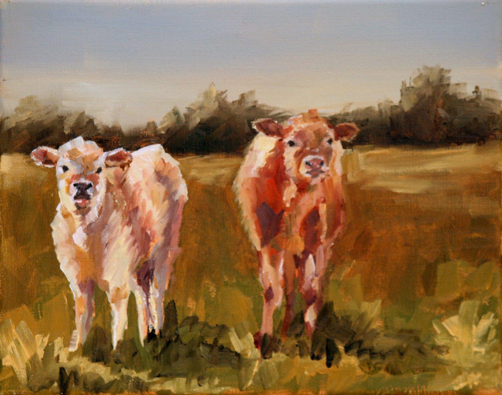 """Two Calves"" original fine art by Carol Carmichael"