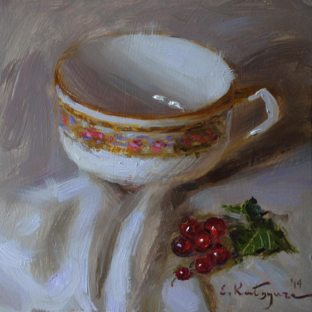 """Teacup and Redcurrant"" original fine art by Elena Katsyura"