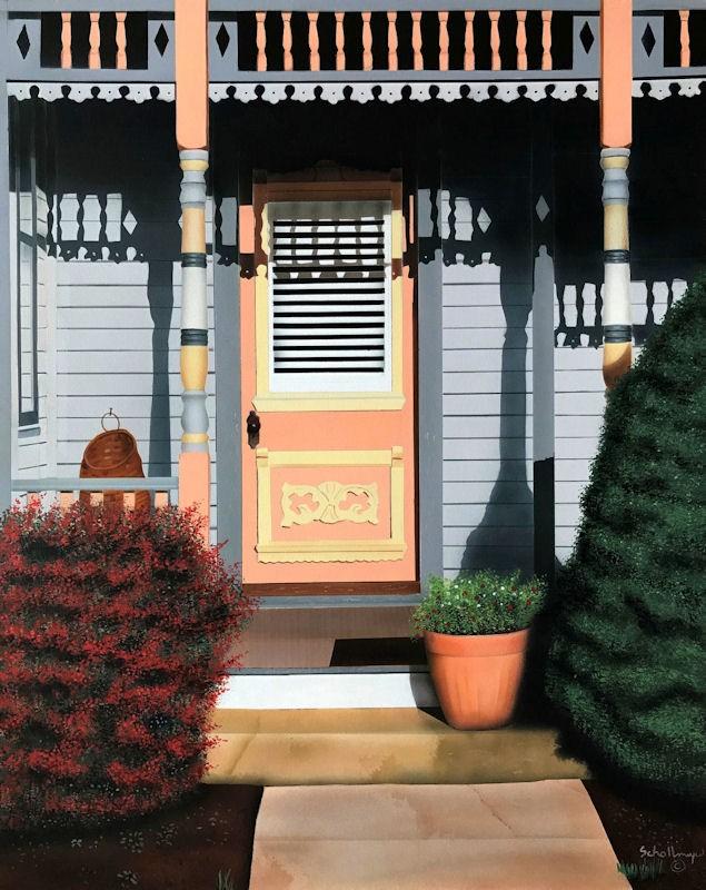 """""""Porch on Park Street"""" original fine art by Fred Schollmeyer"""