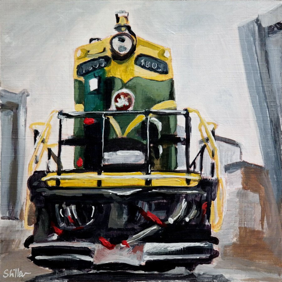 """2007 Green-Yellow Locomotive"" original fine art by Dietmar Stiller"