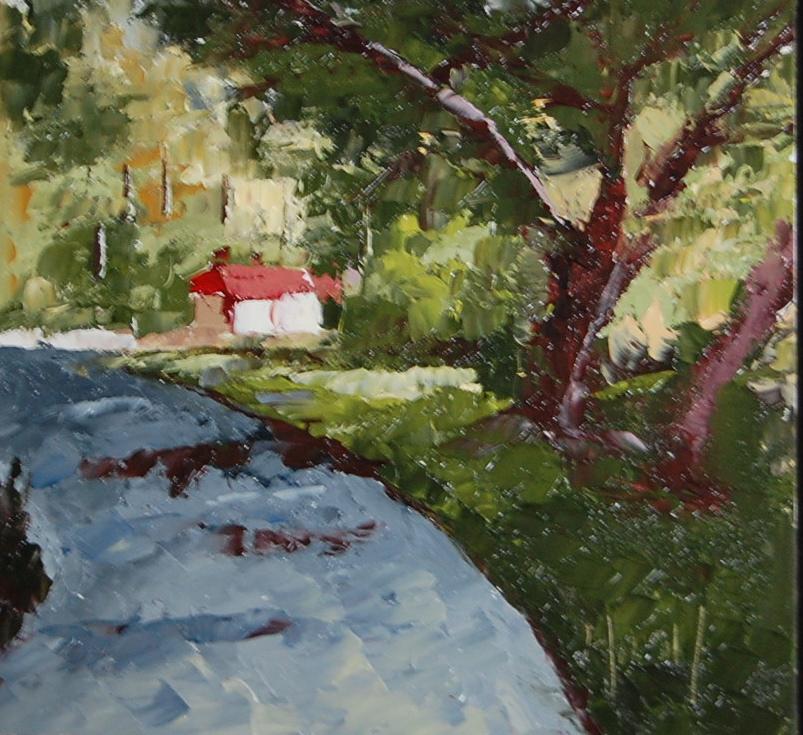 """Abstract of Pebble Beach Trail"" original fine art by Deborah Harold"