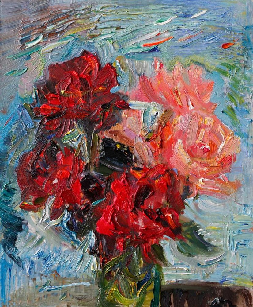 """""""Red and Light Pink Garden Roses in the Wind"""" original fine art by Anna Fine Art"""