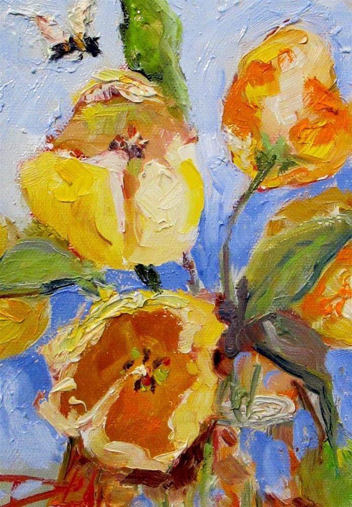 """Yellow Tulip"" original fine art by Delilah Smith"
