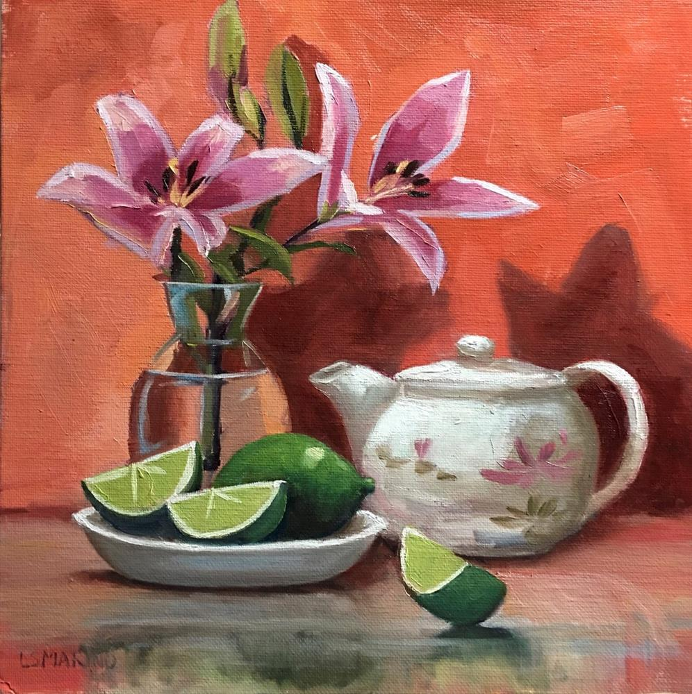 """Pink Lilies, Tea and Limes"" original fine art by Linda Marino"