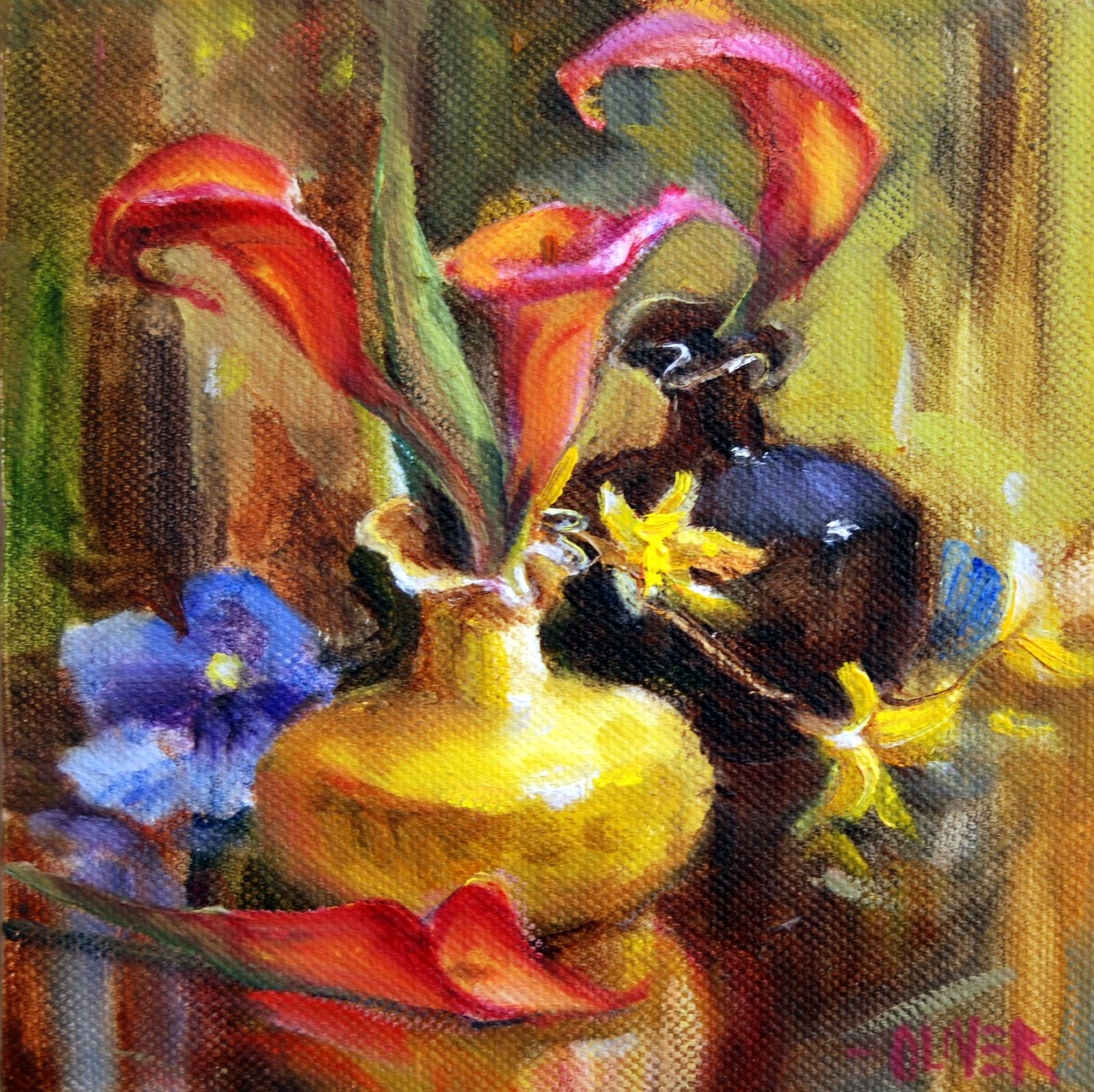 """""""Red Calla Lilies"""" original fine art by Julie Ford Oliver"""