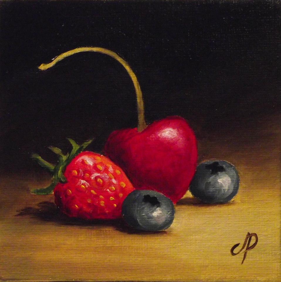 """Cherry and berries"" original fine art by Jane Palmer"