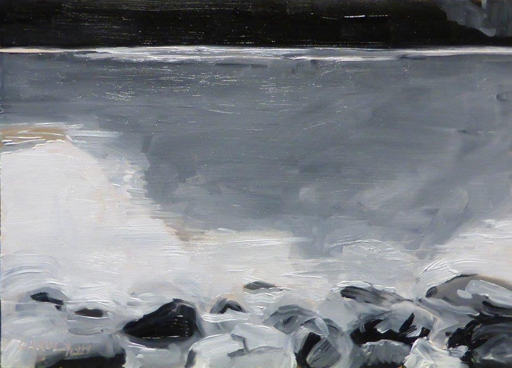 """""""Grey Scale, Lake Louise"""" original fine art by Carolynn Doan"""