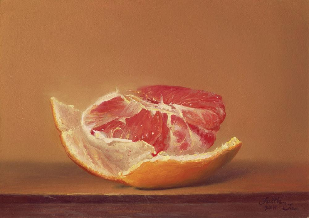 """Peeled Grapefruit"" original fine art by Faith Te"