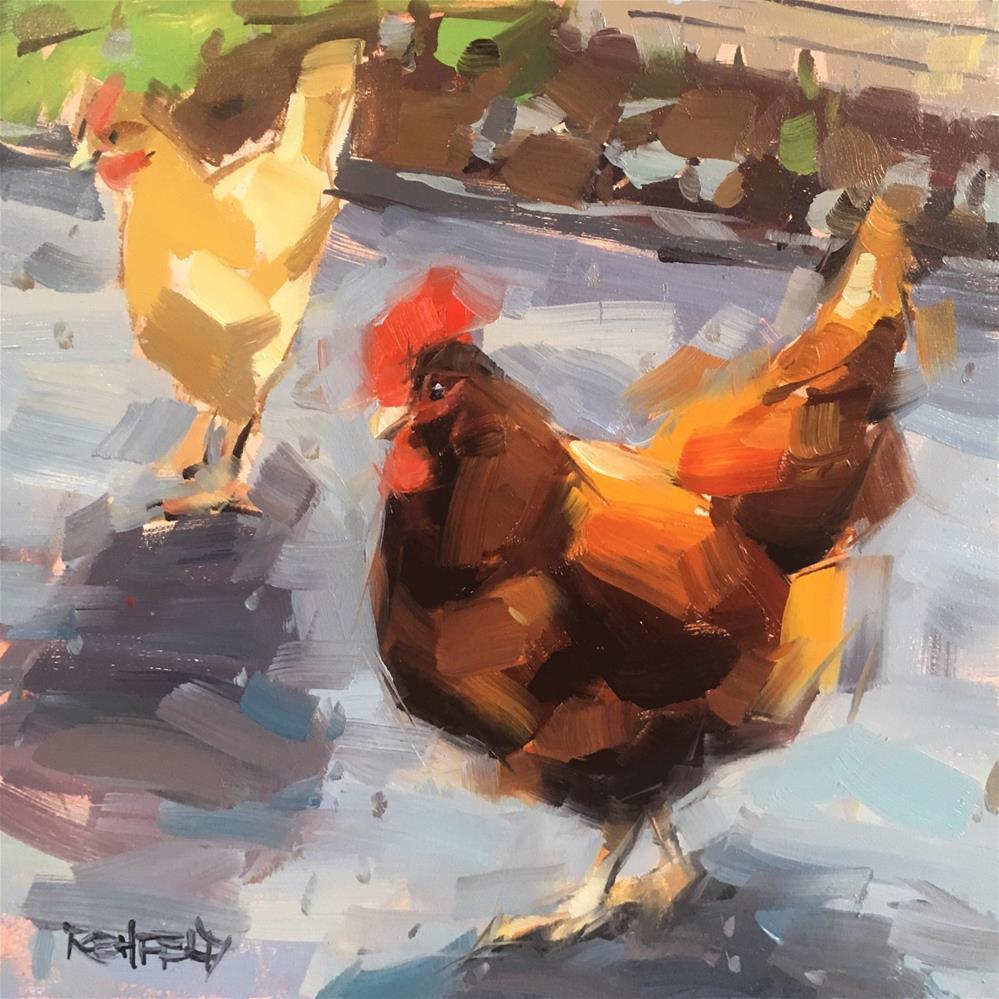 """Funky Chickens"" original fine art by Cathleen Rehfeld"