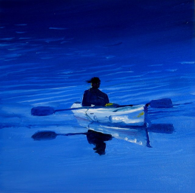 """Peaceful Blue  kayaker , oil painting"" original fine art by Robin Weiss"