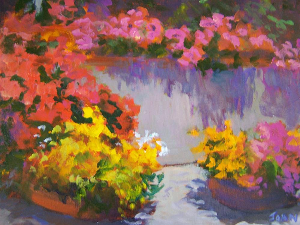 """""""Garden Wall"""" original fine art by Joan Reive"""