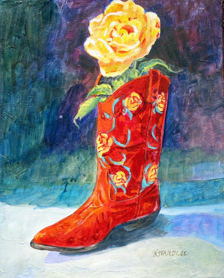 """""""Yellow Rose, Red Boot 11095"""" original fine art by Nancy Standlee"""