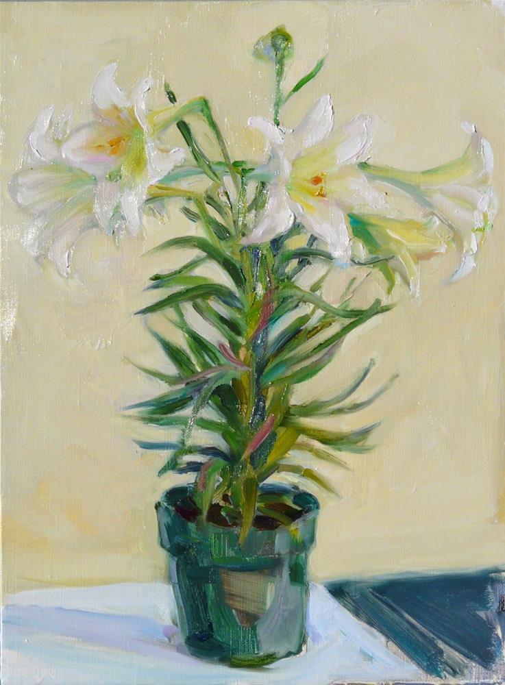 """""""April Lily,still life,oil on canvas,16x12,price$300"""" original fine art by Joy Olney"""