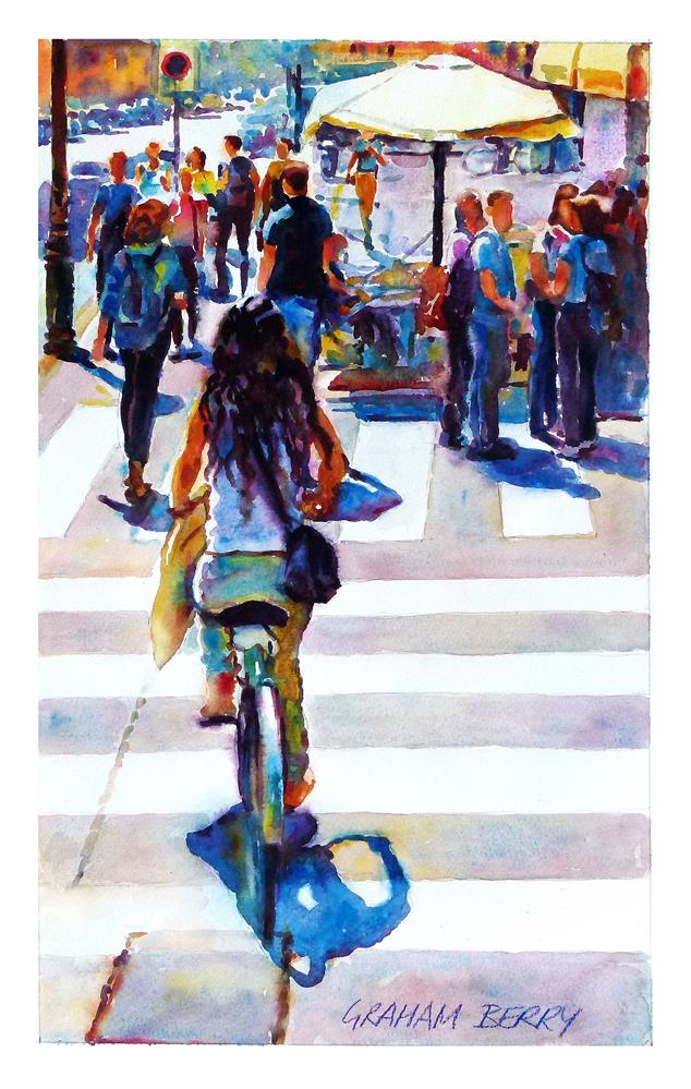 """Cycling girl."" original fine art by Graham Berry"