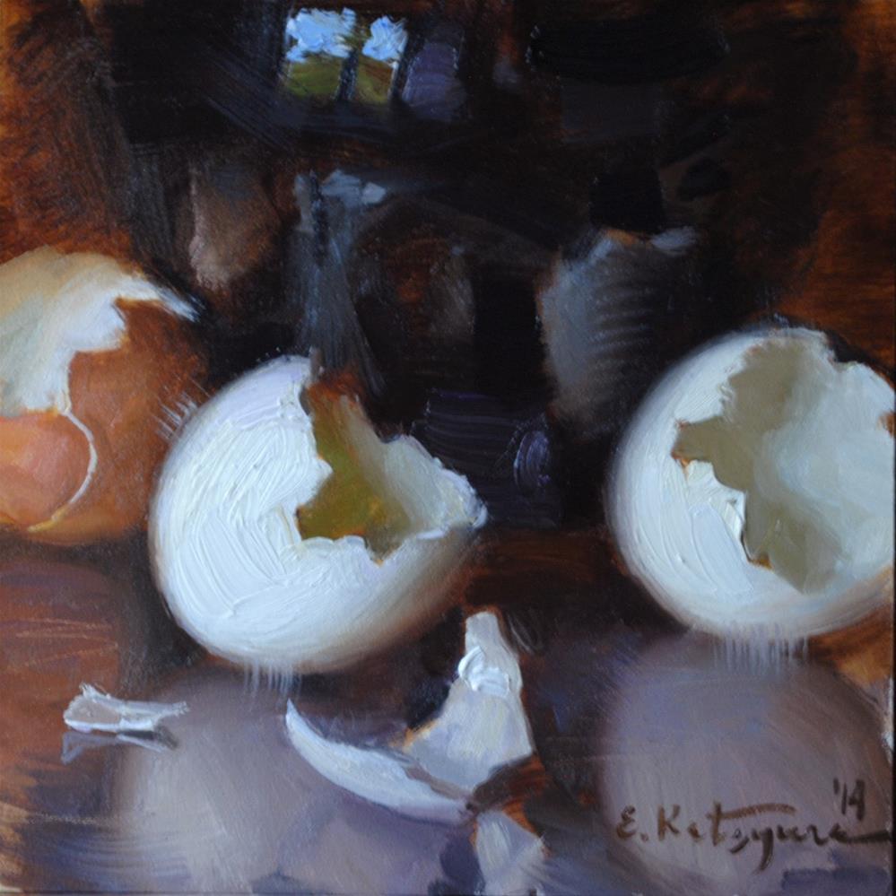 """Eggshell Halves"" original fine art by Elena Katsyura"