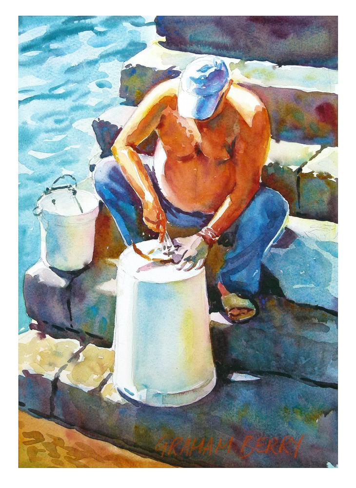 """Descaling fish"" original fine art by Graham Berry"