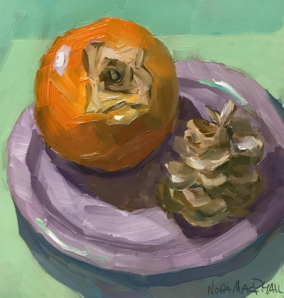 """""""purple plate with persimmon and pinecone"""" original fine art by Nora MacPhail"""