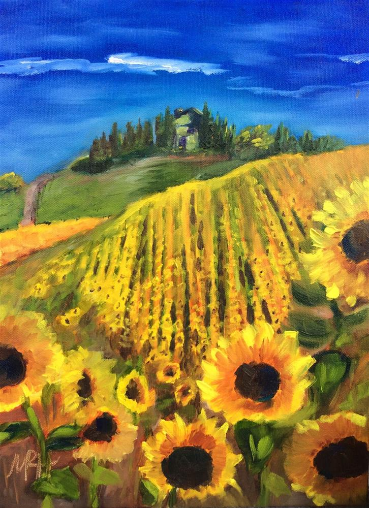 """Italian Sunflower Fields"" original fine art by Molly Rohrscheib Hathaway"