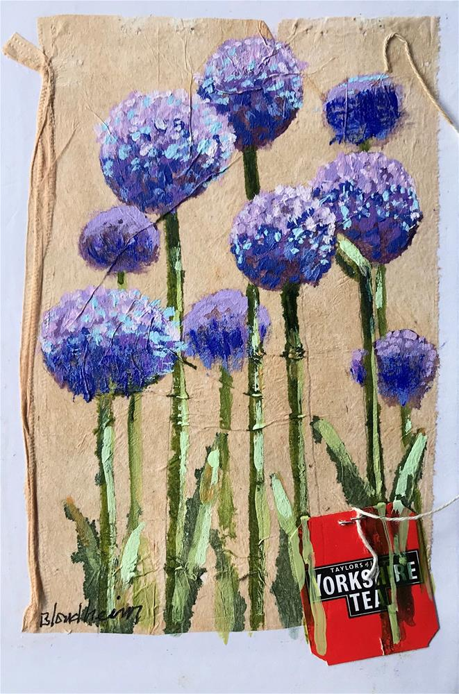 """Tea Bag Painting Allium"" original fine art by Linda Blondheim"