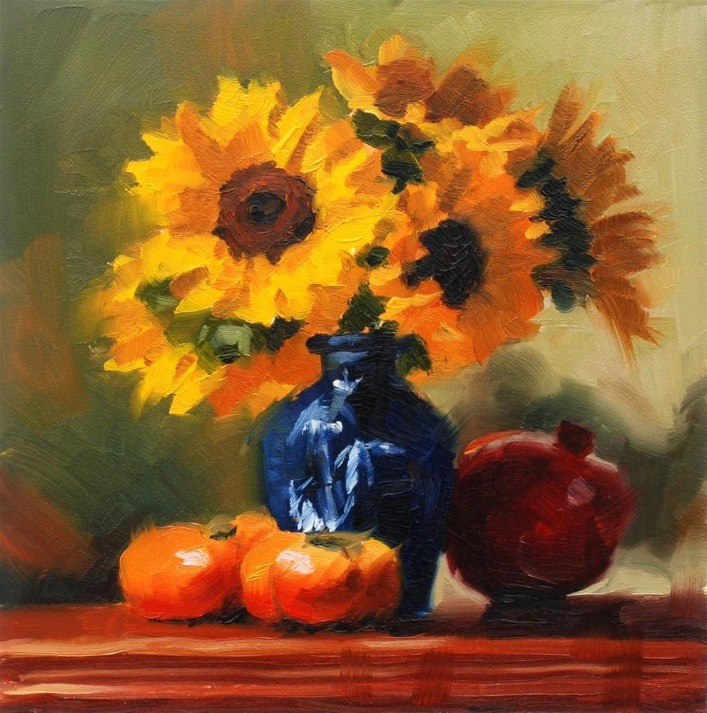"""No. 661 Persimmons and Pomegranate with Sunflowers"" original fine art by Susan McManamen"
