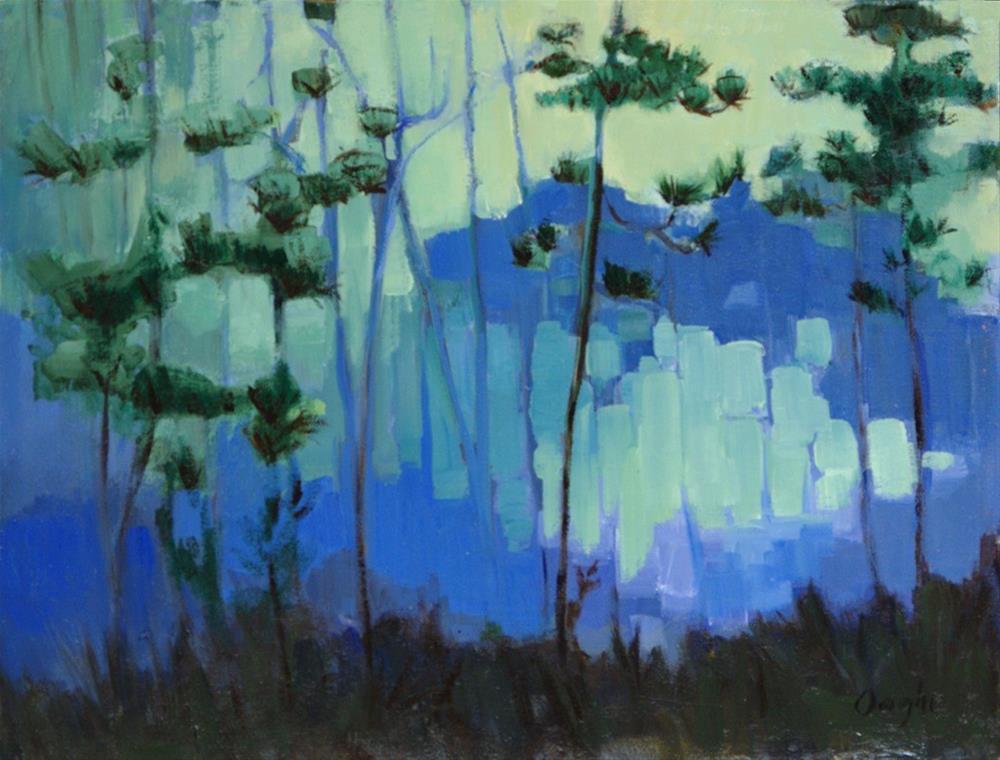 """Blue Evening Pines"" original fine art by Angela Ooghe"
