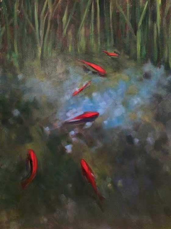 """Gold Fish Pond"" original fine art by Elaine Juska Joseph"