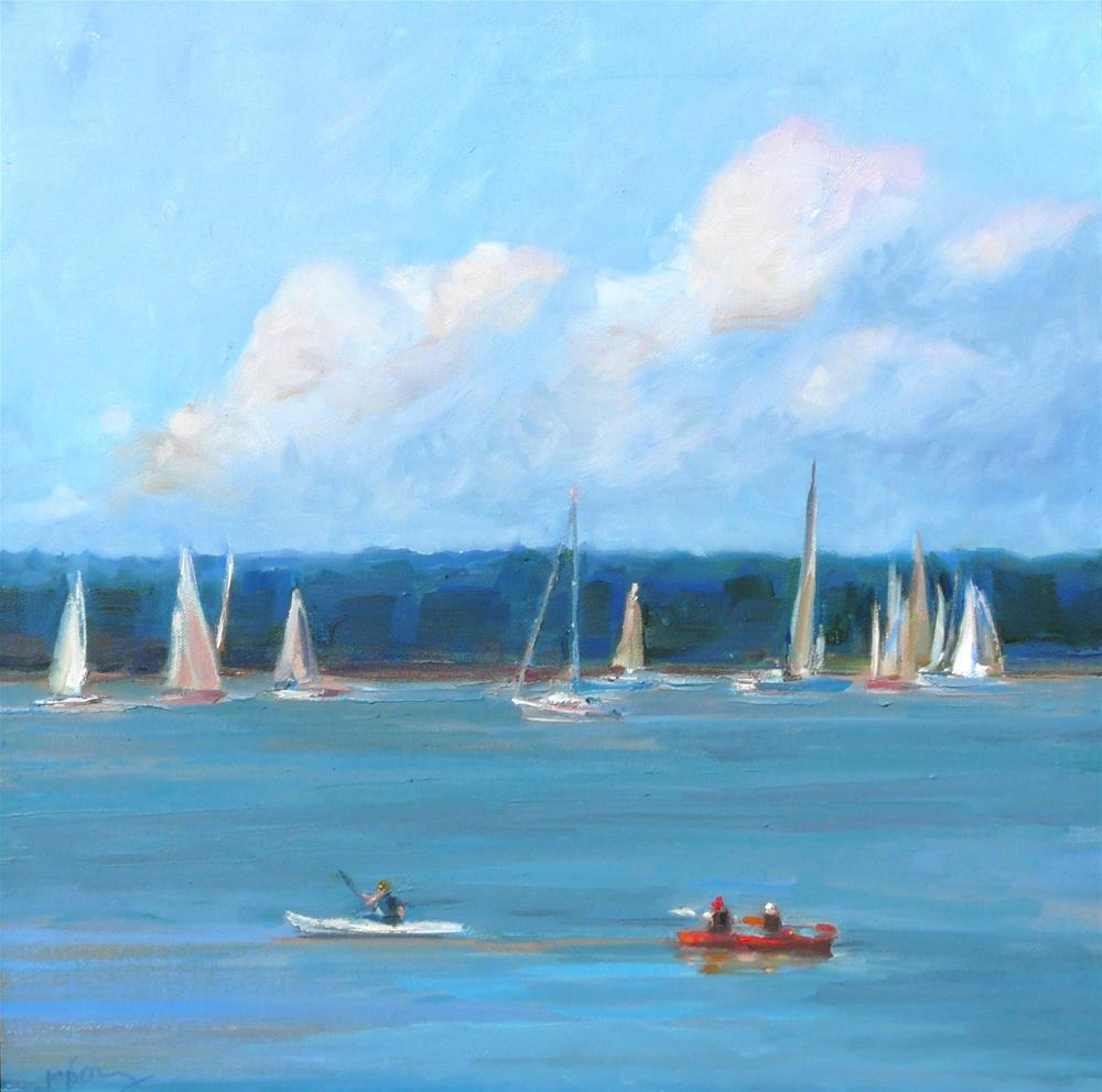 """Out on Bellingham Bay,seascape,oil on canvas,18x18,price$750"" original fine art by Joy Olney"