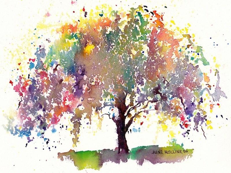 """Graceful Triad Tree"" original fine art by June Rollins"