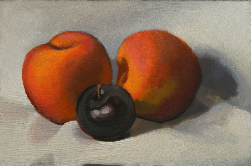 """Peaches and plum"" original fine art by Peter Orrock"