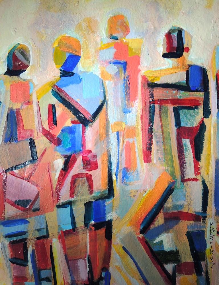 """Geometry of Men"" original fine art by Mary Schiros"