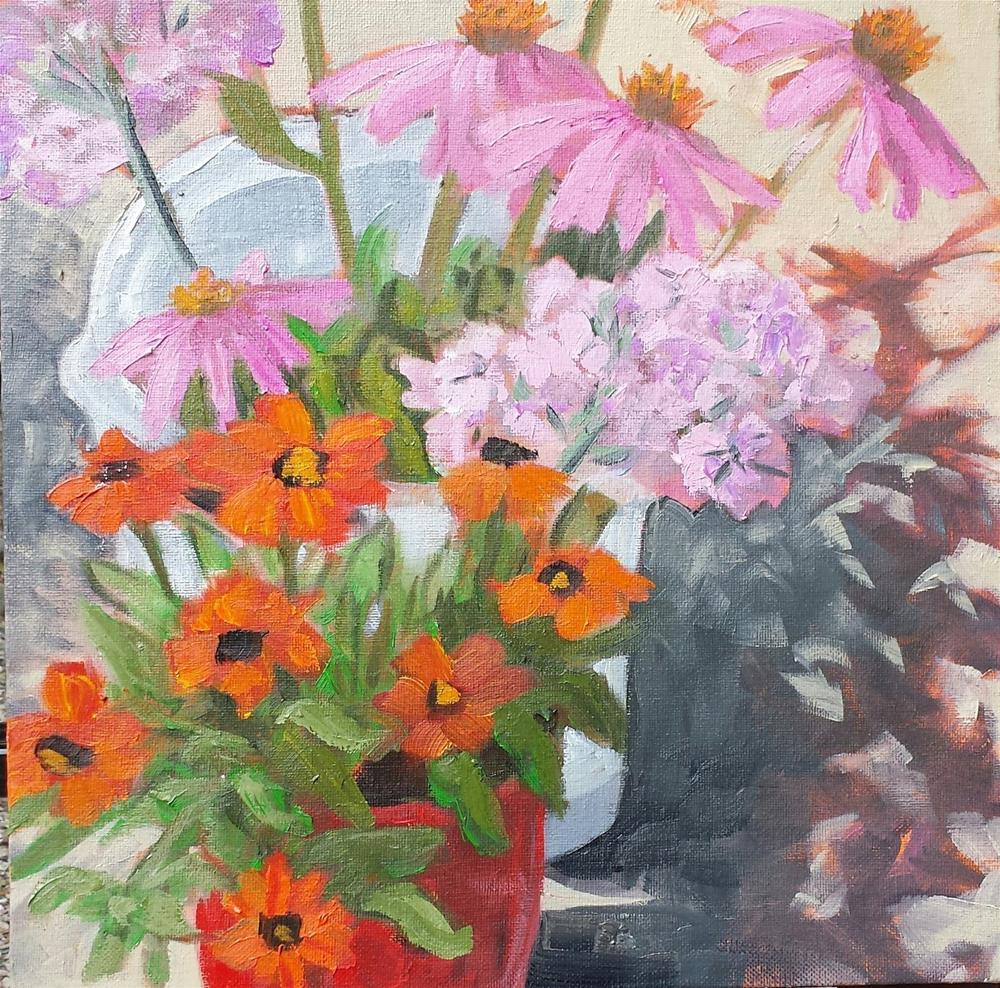 """August's  Flowers"" original fine art by Judith Fletcher"