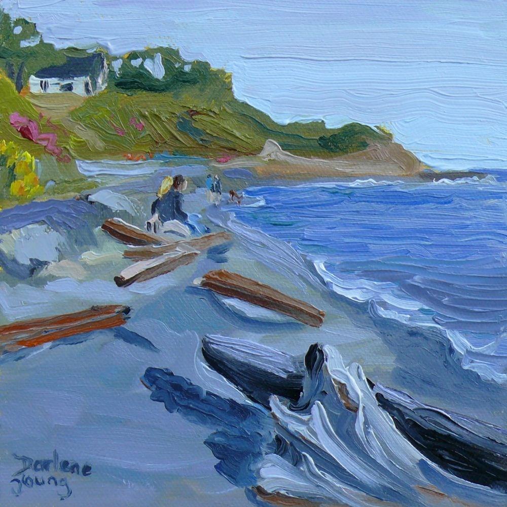 """Holland Point Scene, oil on board, 6x6"" original fine art by Darlene Young"