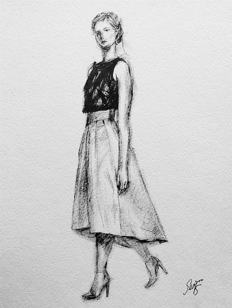 """Evening Gown"" original fine art by Elena Senina"