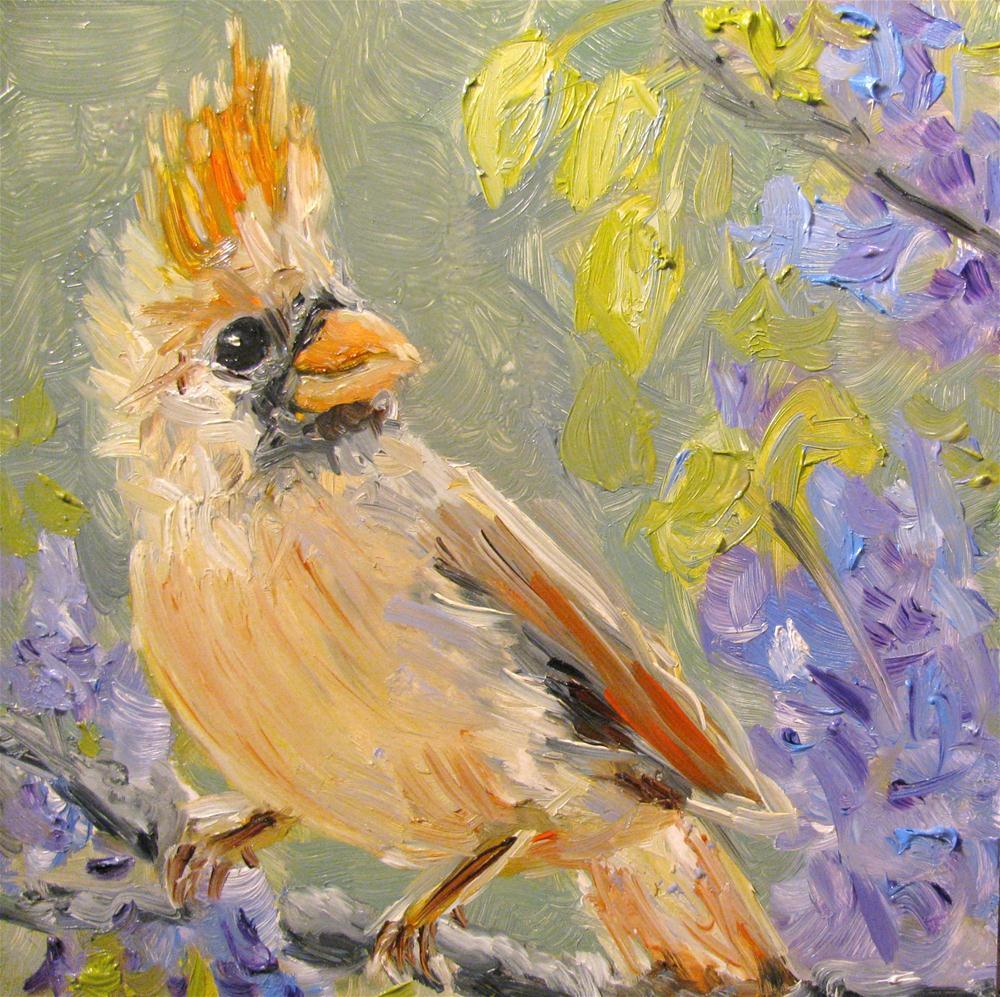 """Female Cardinal in the Wysteria"" original fine art by Susan Elizabeth Jones"