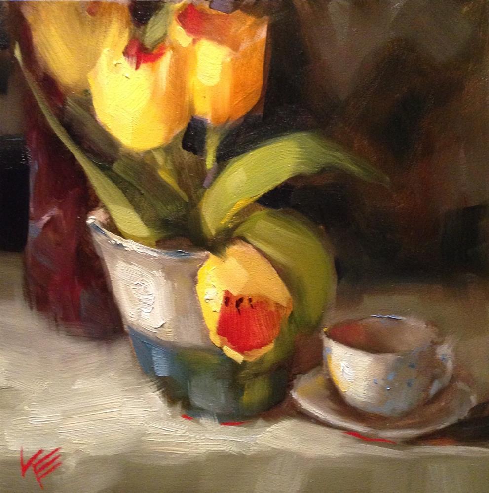 """Cup of Sunshine"" original fine art by Krista Eaton"