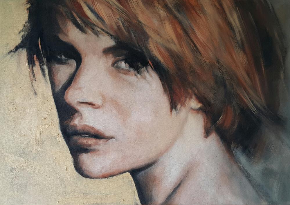 """""""Looking back"""" original fine art by Rentia Coetzee"""
