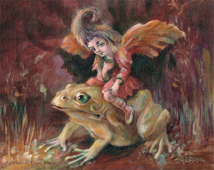 """""""Fairy on a Frog"""" original fine art by Theresa Taylor Bayer"""