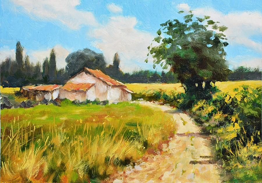 """Ugly farm house, French countryside scene."" original fine art by Nick Sarazan"