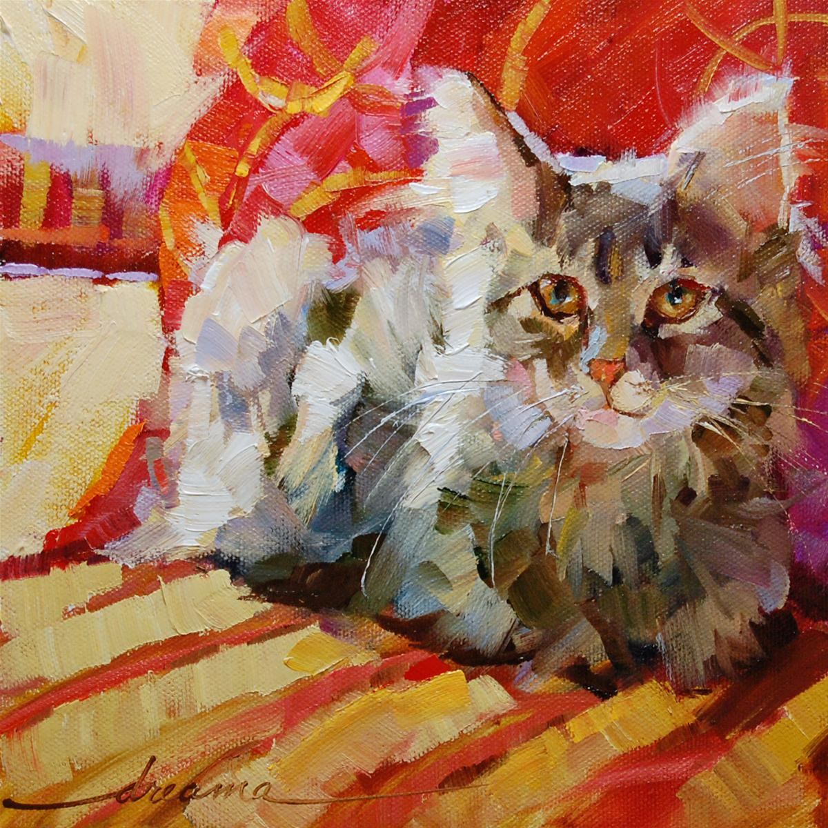 """""""Catalicious Kit Kat"""" original fine art by Dreama Tolle Perry"""