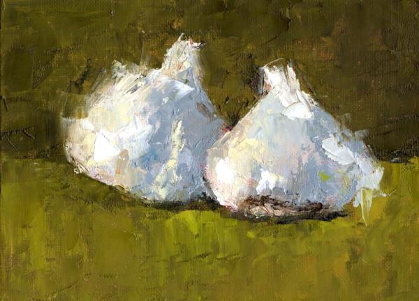 """Two Garlics"" original fine art by Marlene Lee"