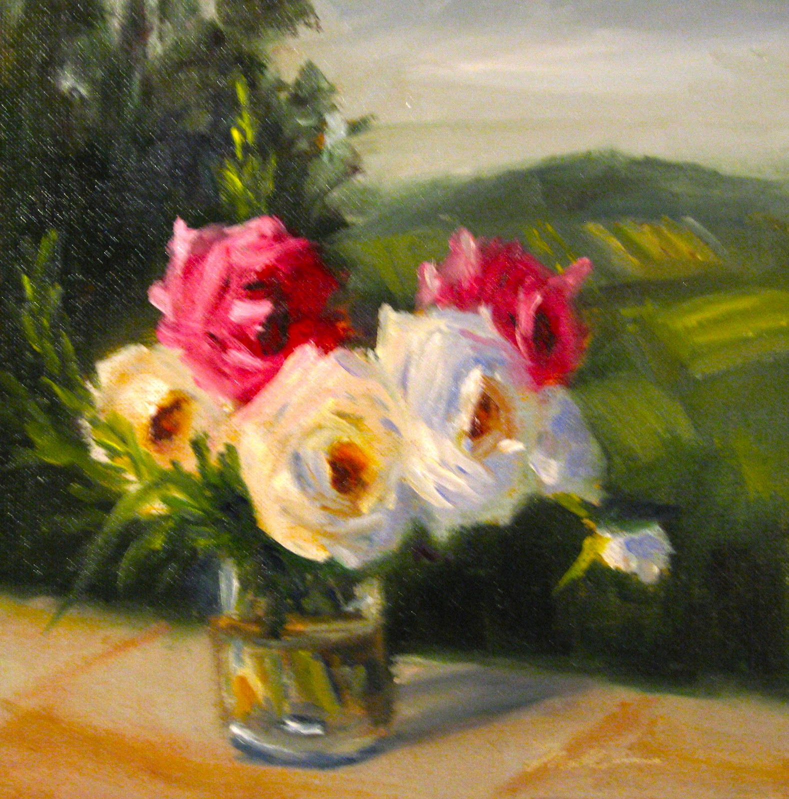 """Flower Study #46 Roses in Tuscany"" original fine art by Pat Fiorello"