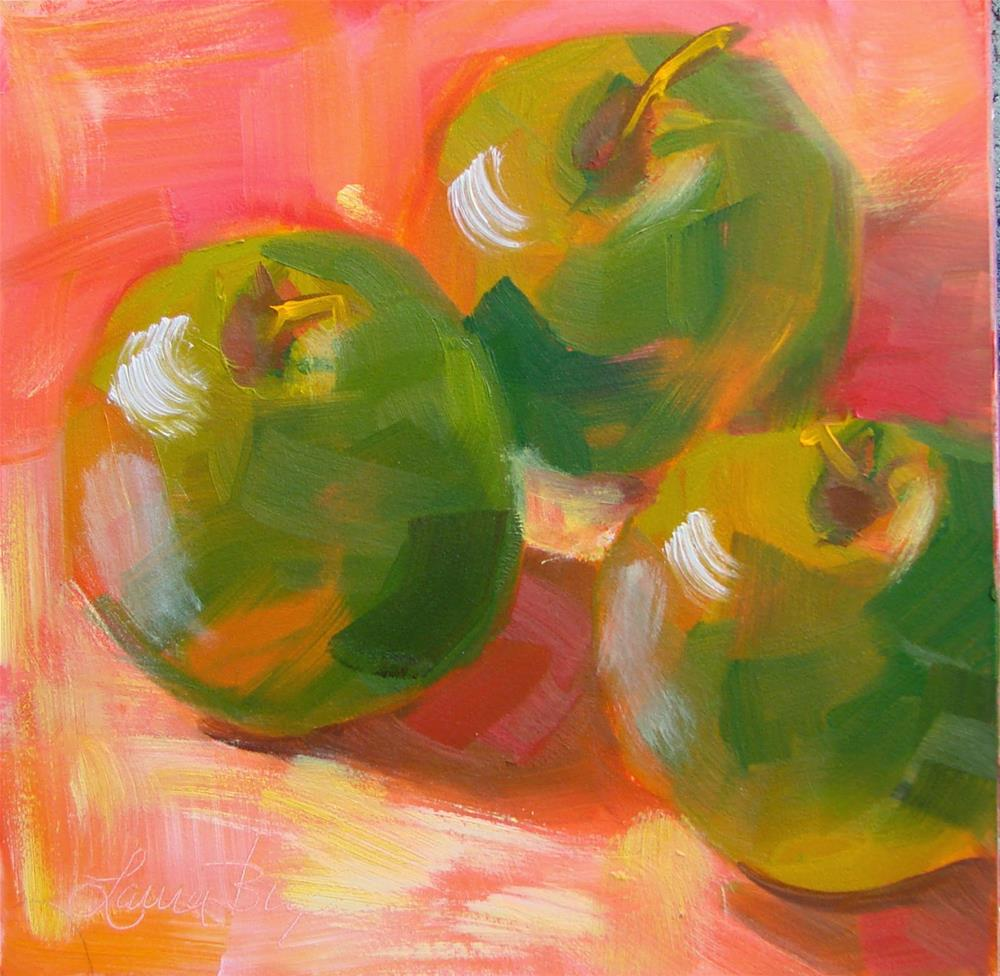 """""""Green Apples -149"""" original fine art by Laura  Buxo"""