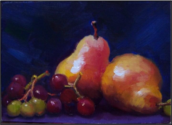 """Juicy Fruits,5x7, oil on linen on panel"" original fine art by Maryanne Jacobsen"